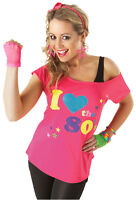 I Love The 80's Ladies Pop Star T-Shirt Pink Sexy Retro Top Fancy Dress Outfit