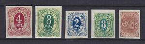 NORWAY LOCAL POST TRONDHJEM TRONDHEIM 1877, 5 IMPERFORATED STAMPS, MNG
