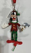 Disney Parks Santa Workshop Elf Goofy Glitter Pull String Painted Ornament