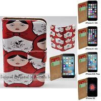For Apple iPhone Series Case - Matryoska Print Flip Wallet Phone Case Cover