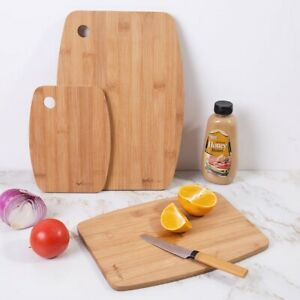 BAMBOO CHOPPING BOARD SET   3 PIECE SOLID WOODEN KITCHEN FOOD CUTTING BOARDS