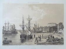 NANTES Entrée Port Vue Félix Benoist Lithographie GRANDE GRAVURE ANCIENNE 1850