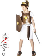 Kids Greek Soldier Roman Body Armour Kids Fancy Dress Costume Gladiator Age 7-10