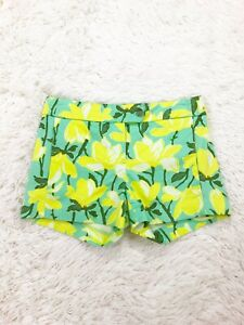 """J. Crew Yellow Floral Turquoise Stretch Casual Shorts 3"""" Inseam Size 00"""
