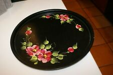 """Vtg. Toile Tray Round Hand Painted Server Black Gold Floral 10 3/4"""" D Phil.,Pa."""