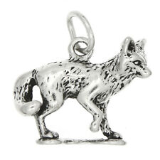 STERLING SILVER FOX WITH TAIL CURLED CHARM PENDANT
