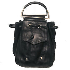 $350 CHRISTOPHER KON BLACK LEATHER DRAWSTRING BAG / METAL HANDLES