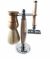 Mens Shaving Set, Safety Razor, Badger Hair Shaving Brush, Shaving Stand,