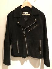 reiss Black Goats Leather Biker Jacket  M Med Suede
