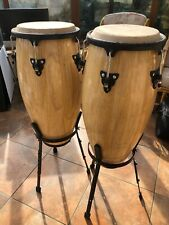 """More details for pair of congas 9.5"""" and 10.5"""" with stands"""
