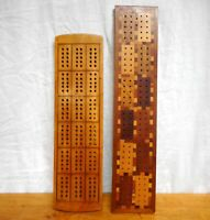2 Antique Cribbage Boards Maple, Walnut with Inlays