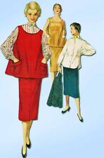 1950s Vintage Simplicity Sewing Pattern 4847 FF Misses Maternity Skirt & Top 32B