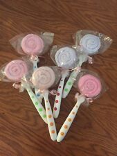 Baby Shower Gift for Girl Or Boy Lot of 6 Lollipops (spoons and washcloths)