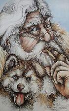 1987 Signed Doug Lindstrand Old Man Siberian Huskie Pup Print Alaskan Sketches