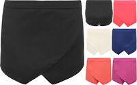 New Womens Asymmetric Wrap Stretch Elasticated Ladies Skirt Shorts Skort 6-14