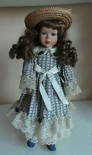 Rare Old Collectible Leonardo 85 Porcelain Soft Body Doll on Stand w Blue Dress