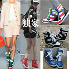 Celebrity Womens High Top Lace Up Hidden Wedge Fashion Sneaker Shoes Ankle Boots