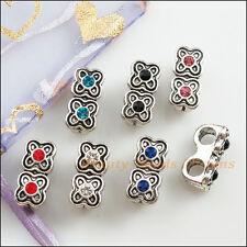 6Pcs Tibetan Silver Mixed Crystal Flower Charms Pendants Connectors 8.5x18mm