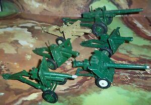 6 x Field Guns Britains & Crescent with Howitzer, Bat Gun, 25 Pounder, etc