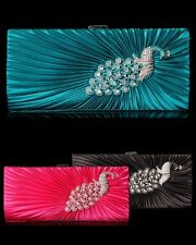 NWT Gorgeous Rhinestone Peacock Clutch Purse Evening Bag Elegant Design