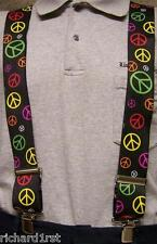 "Suspenders 2""x48"" FULLY Elastic 60's Retro Peace Signs montage NEW"