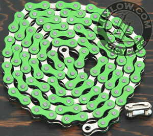 "Green & Silver 2 Tone Fixie Bicycle Chain 1/2""x1/8"" 112 Schwinn Cruiser Bike BMX"
