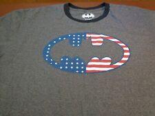 DC Comics Batman  American Flag Logo Ringer Style  T-shirt   XL    o12