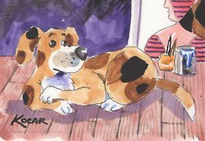 #3596 NEW! Original watercolor by George Kocar  Studio Hound Dog