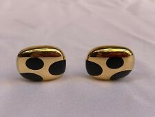 """MAGNIFICENT PAIR OF  FRENCH 18K GOLD BLACK ONYX CUFFLINKS SIGNED """"MUST SEE"""""""