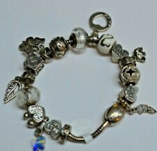 """STERLING SILVER MA CHARM BRACELET 17 CHARMS ITALY 7"""""""