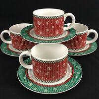 Set of 4 VTG Cups and Saucers Sakura Penguins Debbie Mumm Christmas Snowflakes