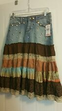 Candie's Studded Denim Skirt Size 7 with Lacey & Embroidered Ruffles junior