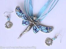 DRAGONFLY GODDESS NECKLACE AND GODDESS EARRING SET, BLUE & LIGHT BLUE
