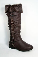 Women's Winter Warm Faux Fur Flat Cuff Knee High Boot Shoes Size 6 - 10 NEW