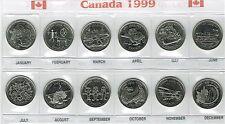1999 Canadian Brilliant Uncirculated Millennium Commemorative Twelve Quarters!