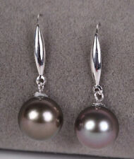 PERFECT ROUND 9-10MM AAA BLACK  SOUTH SEA PEARL DANGLE EARRING 14K WHITE GOLD