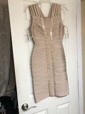 Herve Leger Gemma Dress In Adobe Gold. Sz M.  NWT!!
