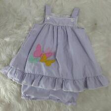 Vintage Samara Brothers A line Jumper ruffle Butterfly Stripe Dress Bloomers 3T