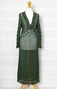 Vintage Karen Millen S Green Open Knit Crochet Cotton Midi Dress