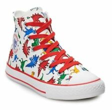 b5a54cc9d5dc Converse Junior Boys Dinosaur High-Top Sneakers Dino Print Shoes Boy Size 1  NEW