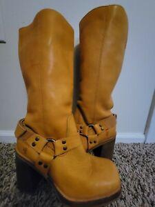 Vintage FRYE Karma Harness Boots Tan Heel Platform Leather Size 8 1/2 77590