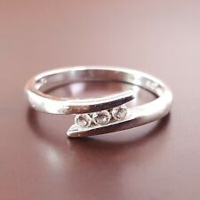9ct White Gold Cubic Zirconia Trilogy Ring Size K