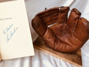 Vtg Old Antique Lou Boudreau Baseball Glove w Autographed Book Cleveland Indians