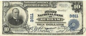 North Carolina Durham $10 Dollars First National Bank National Currency 1902