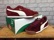 PUMA MENS UK 7 EU 40.5 BURGUNDY ROMA SUEDE TRAINER PUMA