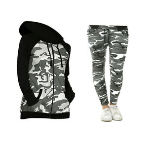 Kids Girls Tracksuit Camouflage Hooded Top Bottom Loungewear Outfit Set 3-16 Yr