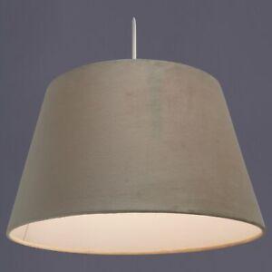 """Ennis Easy Fit Velour Velvet Pendant Light Shades in Beige and Grey 12"""" 14"""" inch"""