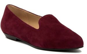 Eileen Fisher Ariel Flats Women's Suede Slip On Loafer Shoes Cranberry Size 8.5