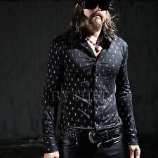 ByTheR Men's Shining Cross Classy Neat Formal Dress One Size Black Shirts UK N