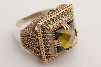Turkish Jewelry Square Shape Peridot Topaz 925 Sterling Silver Ring Size Options